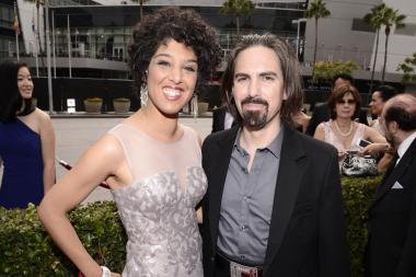 Raya Yarbrough and Bear McCreary arrive on the red carpet at the 2015 Creative Arts Emmy Awards.