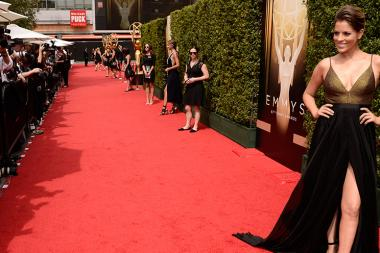 Stephanie Bauer on the Red Carpet at the 2015 Creative Arts Emmys.