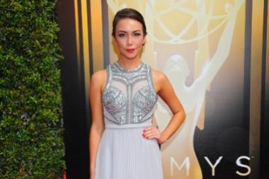 Joanna Sotomura on the red carpet at the 2015 Creative Arts Emmys.