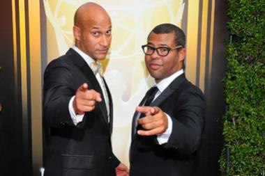 Keegan-Michael Key and Jordan Peele arrive on the red carpet at the Creative Arts Emmy Awards 2015.