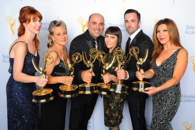 Sarah Egan, Melanie Demitri, Louie Zakarian, Amy Tagliamonti, Jason Milani, and Daniela Zivkovic backstage at the Creative Arts Emmy Awards 2015.
