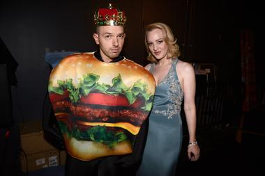 Paul Scheer and Wendi McLendon-Covey backstage at the 2015 Creative Arts Emmys.