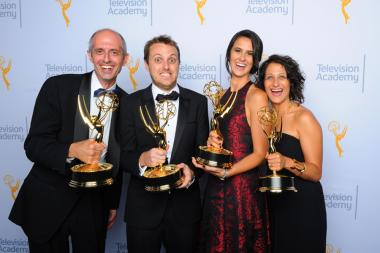Richard Hankin, from left, Zac Stuart-Pontier, Caitlyn Greene, and Shelby Siegel backstage at the Creative Arts Emmy Awards 2015.