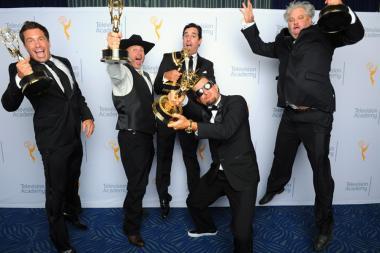 David Reichert, Todd Stanley, Steven Wright, Breck Warwick, and Matt Fahey backstage at the 2015 Creative Arts Emmys.