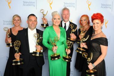 Jillian Erickson, Mike Mekash, Eryn Krueger Mekash, Christopher Nelson, Lucy O'Reilly and Kim Ayers backstage at the 2015 Creative Arts Emmys.