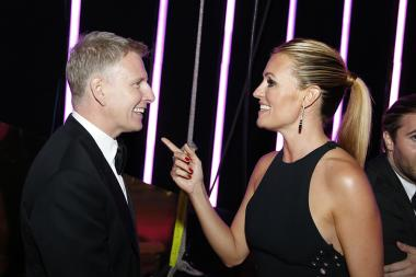 Patrick Kielty and Cat Deely backstage at the 2015 Creative Arts Emmys.