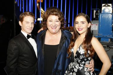 Seth Green, Margo Martindale and Mae Whitman backstage at the 2015 Creative Arts Emmys.