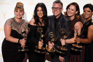 Daina Daigle, Michelle Ceglia, Monte C. Haught, Amy Wood and Sherri B. Hamilton backstage at the 2015 Creative Arts Emmys.