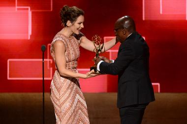 Katharine McPhee presents award to Greg Phillinganes at the Creative Arts Emmy Awards 2015.