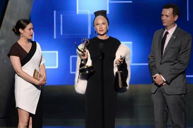 "The team from ""American Horror Story: Freak Show"" accepts their award at the 2015 Creative Arts Emmy Awards."