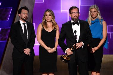 The team of The Saturday Night Live 40th Anniversary Special accepts their award at the 2015 Creative Arts Emmy Awards.
