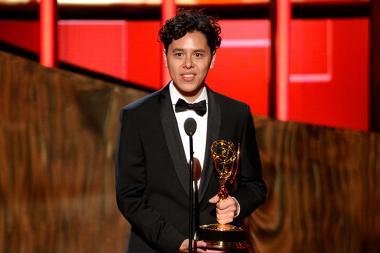 Alonso Ramirez Ramos accepts his award at the 2015 Creative Arts Emmys.