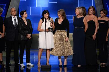 "The team of ""LikeAGirl - Always"" accepts their award at the 2015 Creative Arts Emmy Awards."
