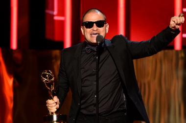 J.J. Villard accepts his award at the 2015 Creative Arts Emmys.