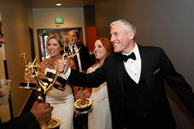 Tava Smiley, Maureen Timpa and Brian Katkin backstage at the 2015 Creative Arts Emmys.