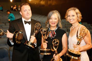Robert Mancini, Lisa Hsia and Aimee Viles backstage at the 2015 Creative Arts Emmy Awards.