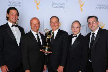 Michael Cimino, John Pinto, Steven Cimino, Len Wechsler and Paul Cangialosi backstage at the 2015 Creative Arts Emmys.