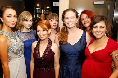 """The team from """"Emma Approved"""" backstage at the 2015 Creative Arts Emmy Awards."""