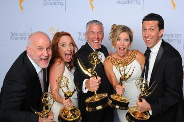 Chuck Saftler, Maureen Timpa, Brian Katkin, Tava Smiley and Adam Lewinson backstage at the 2015 Creative Arts Emmys.