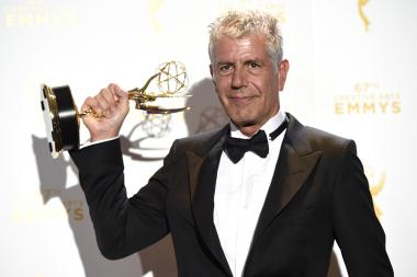Anthony Bourdain backstage at the 2015 Creative Arts Emmys.
