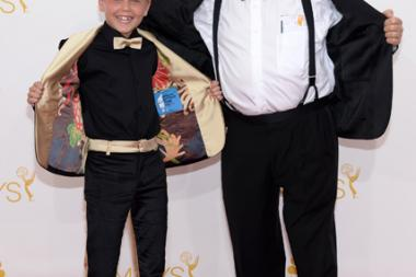 Mason Vale Cotton and Robert Morse of Mad Men arrive at the 66th Emmys.