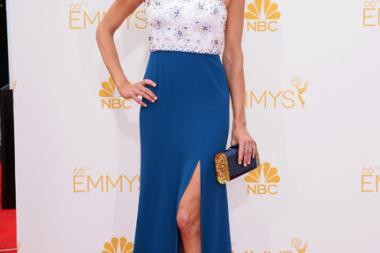 Anna Gunn of Breaking Bad arrives at the 66th Emmy Awards.