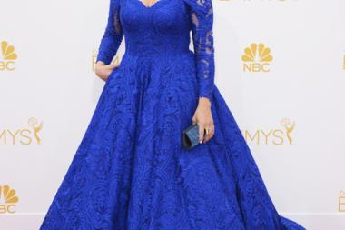 Mayim Bialik of The Big Bang Theory arrives at the 66th Emmy Awards.