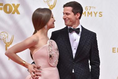 Joanna Newsom and host Andy Samberg on the red carpet at the 67th Emmy Awards.