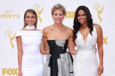 Renee Barg, Charissa Thompson and Tracey Edmonds on the red carpet at the 67th Emmy Awards.