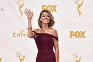 Sarah Hyland on the red carpet at the 67th Emmy Awards.