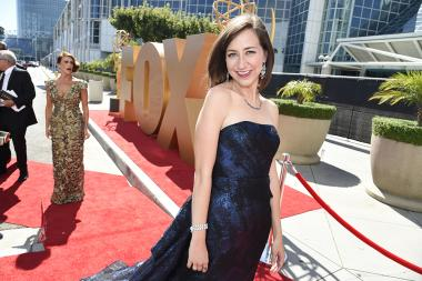 Kristen Schaal on the red carpet at the 67th Emmy Awards.