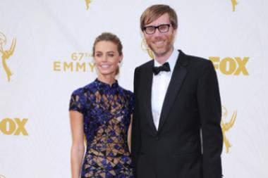 Christine Marzano and Stephen Merchant on the red carpet at the 67th Emmy Awards.