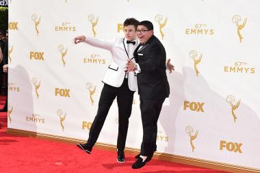 Nolan Gould and Rico Rodriguez on the red carpet at the 67th Emmy Awards.