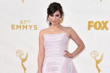 Yael Stone on the red carpet at the 67th Emmy Awards.