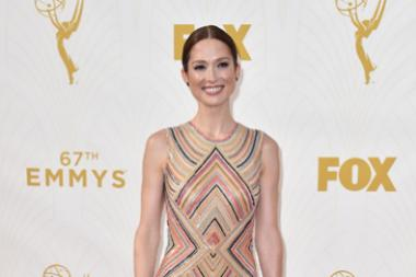 Ellie Kemper on the red carpet at the 67th Emmy Awards.