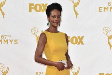 Sufe Bradshaw on the red carpet at the 67th Emmy Awards.