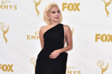 Lady Gaga on the red carpet at the 67th Emmy Awards.