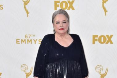 Kathy Bates on the red carpet at the 67th Emmy Awards.