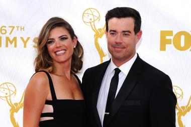 Siri Pinter and Carson Daly on the red carpet at the 67th Emmy Awards.