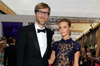 Stephen Merchant and Christine Marzano on the red carpet at the 67th Emmy Awards.