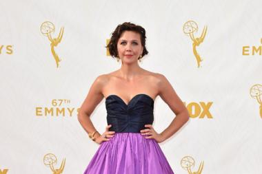Maggie Gyllenhaal on the red carpet at the 67th Emmy Awards.