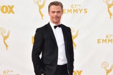 Derek Hough on the red carpet at the 67th Emmy Awards.