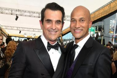Ty Burrell and Keegan-Michael Key on the red carpet at the 67th Emmy Awards.