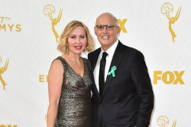 Kasia Ostlun and Jeffrey Tambor on the red carpet at the 67th Emmy Awards.