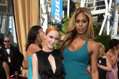 Rachel Brosnahan and Laverne Cox on the red carpet at the 67th Emmy Awards.