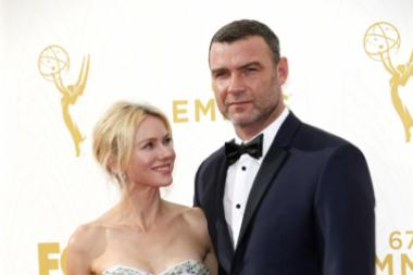 Naomi Watts and Liev Schreiber on the red carpet at the 67th Emmy Awards.