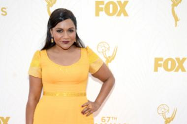 Mindy Kaling on the red carpet at the 67th Emmy Awards.