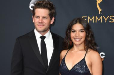 Ryan Piers Williams and America Ferrera on the red carpet at the 2016 Primetime Emmys.