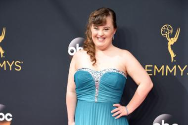 Jamie Brewer on the red carpet at the 2016 Primetime Emmys.