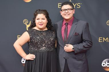 Raini Rodriguez and Rico Rodriguez on the red carpet at the 2016 Primetime Emmys.